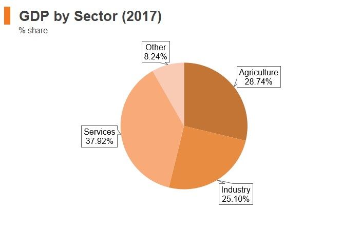 Graph: Tanzania GDP by sector (2017)