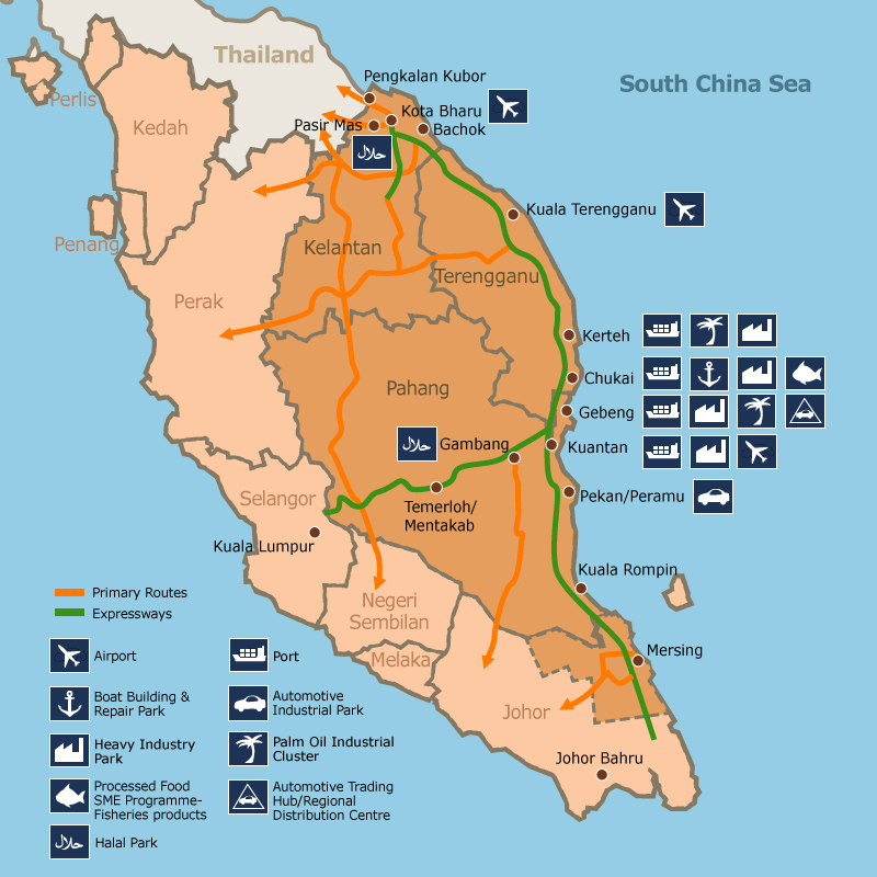 Map: The East Coast Economic Region (ECER).