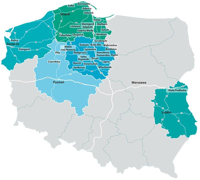 圖片:PSEZ在波蘭5個地區設有35個分區,吸引了123家投資者,總投資超過110億茲羅提。