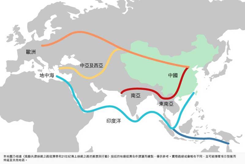 圖:「一帶一路」通過五個走向貫穿亞歐非大陸