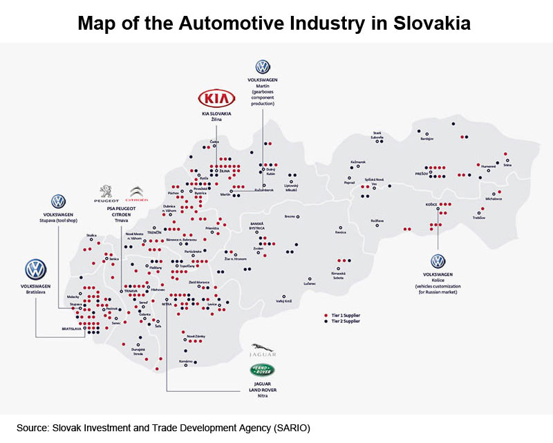 Picture: Map of the Automotive Industry in Slovakia