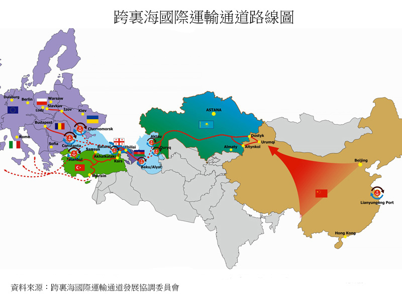 图片:跨里海国际运输通道路线图
