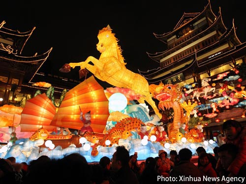 Photo: Yuyuan Lantern Fair held during the Spring Festival in Shanghai. (Xinhua News Agency)