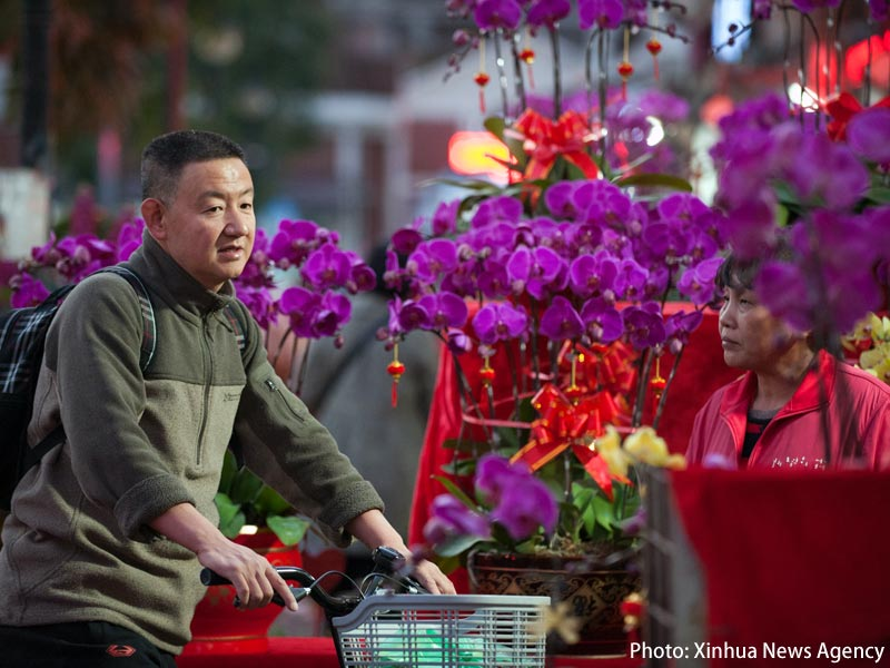 Photo: A New Year flower market in Futian, Shenzhen. (Xinhua News Agency)