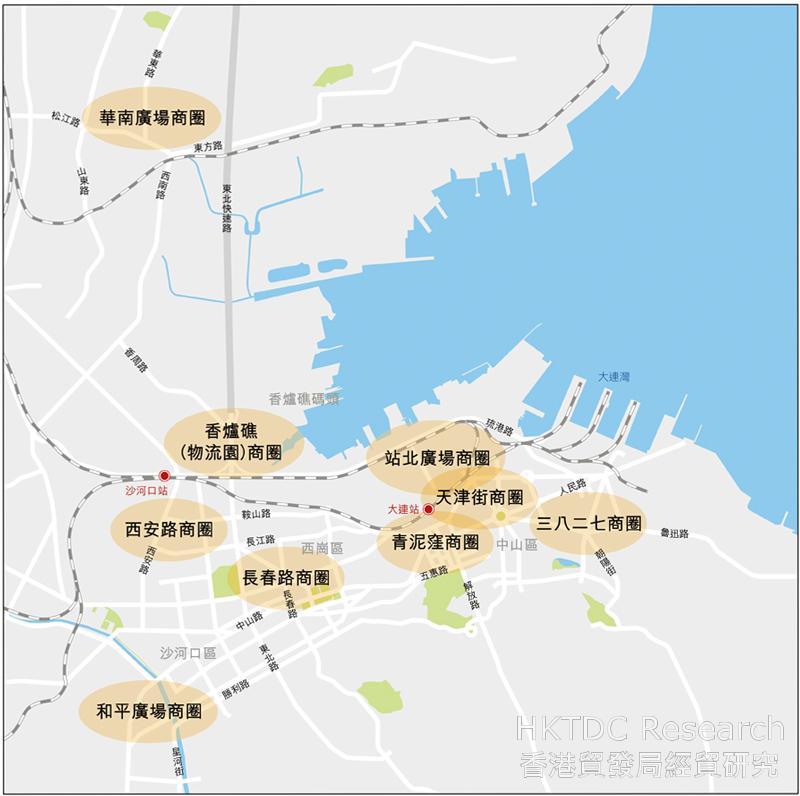 圖:大連市內主要商圈