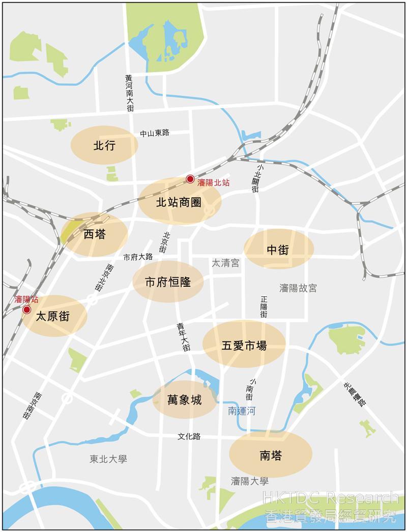 圖:瀋陽市內主要商圈