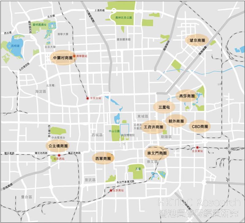 圖:北京市主要商圈