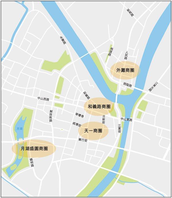 圖:寧波市內主要商圈