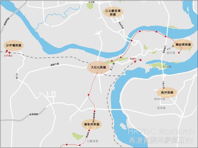 图:重庆市内主要商圈