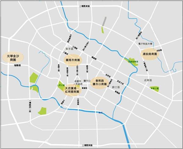 圖:成都市內主要商圈