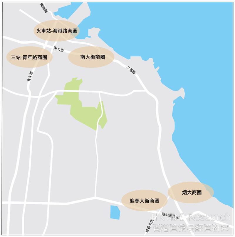 圖:煙台市主要商圈