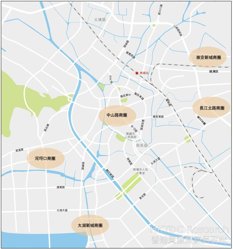 图:无锡市内主要商圈