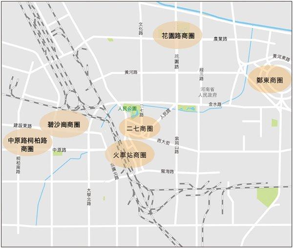 圖:鄭州市主要商圈