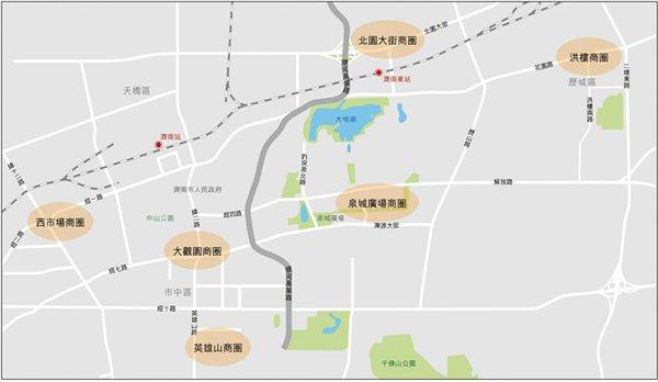 圖:濟南市內主要商圈