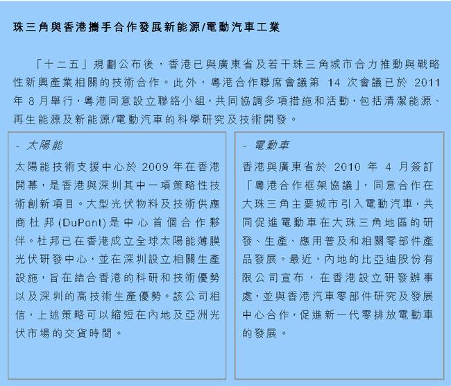 珠三角与香港携手合作发展新能源/电动汽车工业