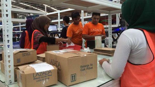 照片:Lazada在印尼的貨品配送中心。