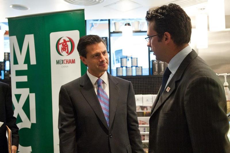 相片:2013年,香港墨西哥商会接待首次访港的时任墨西哥总统涅托(Enrique Peña Nieto)。