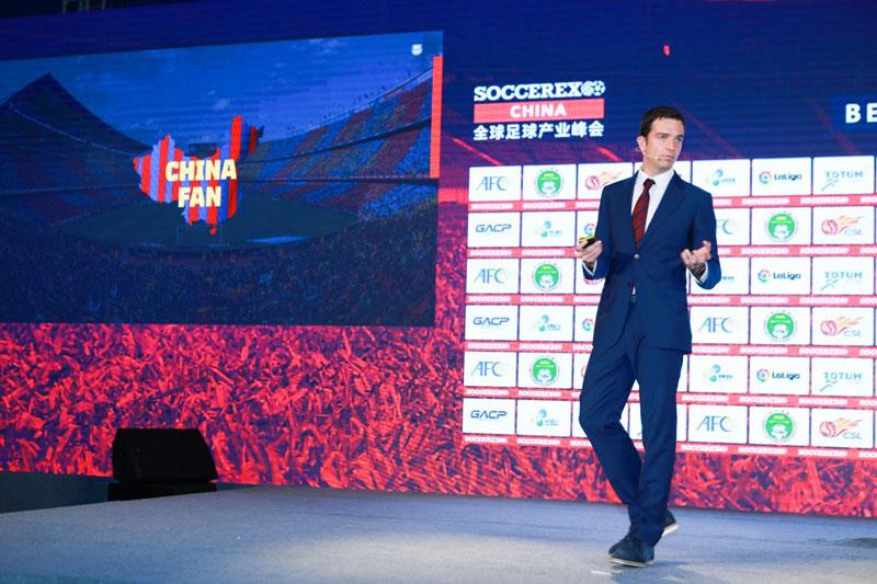 相片: 2019年5月在海口举行的全球足球产业峰会,Camps是主讲嘉宾,题目为The Barça Way(巴塞之道)。