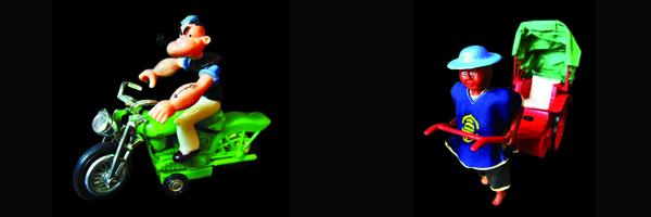 (左至右)大力水手玩具、人力车玩具