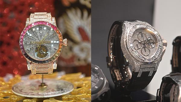 左图:品牌Anpassa展出的最新腕表;右图:品牌Ciribelli展出的最新腕表,价值约156万港元 。