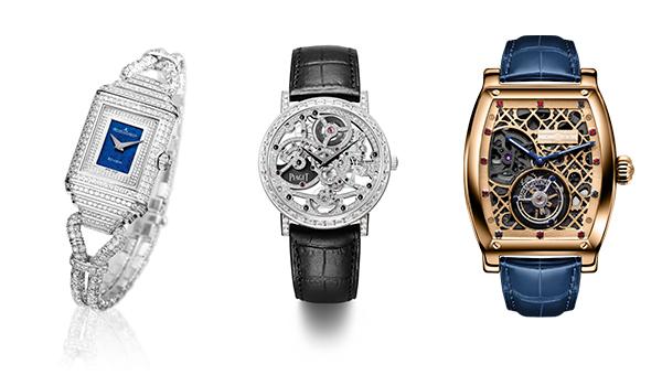 (左)积家女装丝链双面翻转腕表;(中)伯爵的机械腕表;(右)万希泉的傅家俊系列腕表以桌球为主题。