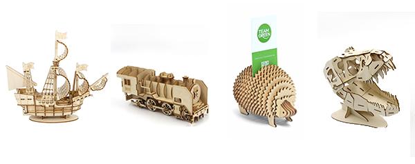 (左起) 帆船立体木拼图、火车头立体木拼图、刺猬卡片座立体木拼图及暴龙立体木拼图