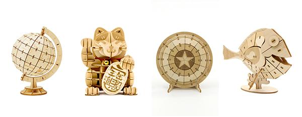 (左起)地球仪立体木拼图 ;招财猫立体木拼图;海底总动员;美国队长