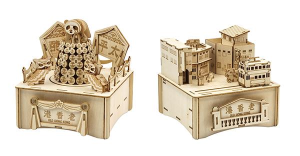 (左图)抢包山木拼图音乐盒;(右图)怀旧香江木拼图音乐盒