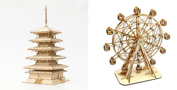(左图) 日本五重塔立体木拼图;(右图)摩天轮立体木拼图
