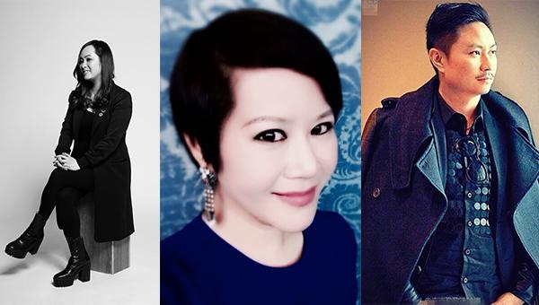 (左起)香港知名时装设计师陈绰盈、张洁雯、刘志华