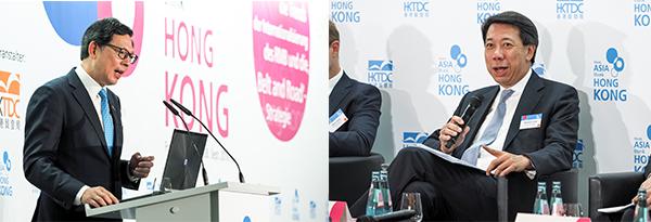(左)香港金融管理局总裁陈德霖,(右)渣打银行(香港) 有限公司大中华及北亚地区行政总裁洪丕