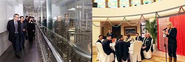 (左图)青岛啤酒股份有限公司的厂房;(右图)交流午宴