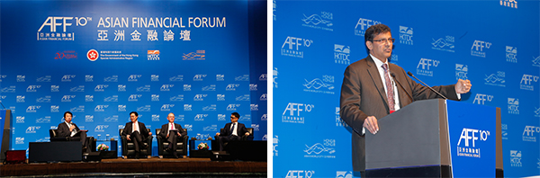 (左图)由香港金融发展局赞助的专题早餐会;(右图) 拉詹 (Raghuram Rajan)