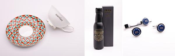 """(左)Martian 复古骨瓷茶杯、(中)Martian""""酒樽型""""不锈钢保温杯、(右)Martian 领带夹及袖扣系列"""