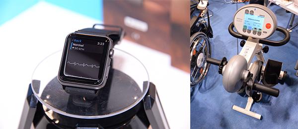 (左图)智能手表的心电图仪表带;(右图)改善柏金逊症发病率的运动机