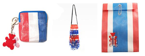 (左起)长形零钱包、红白蓝挂穗袋、熊白蓝文件夹