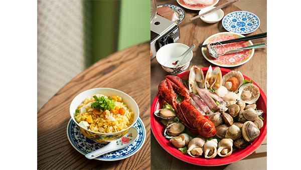 咸蛋拌饭(左);海鲜拼盘(右)