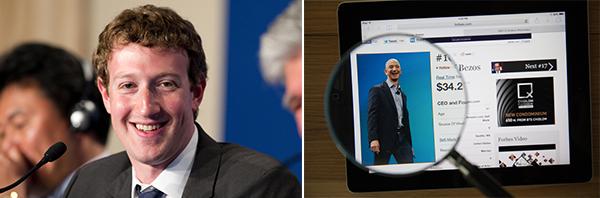 (左图)Mark Zuckerberg; (右图)Sergei Brin
