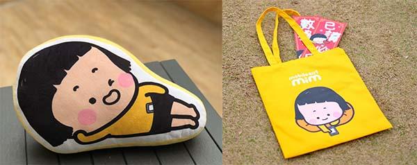 手机女孩揽枕及购物袋