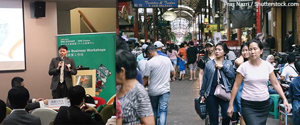 (左图)陈永健(右图)印尼民众