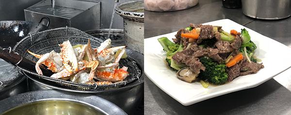 (左图)姜葱炒花蟹(右图)西兰花炒牛肉