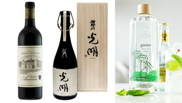左起:2013 Cabernet Sauvignon Napa Valley、日本楯野川光明清酒、Gustav Dill Vodka
