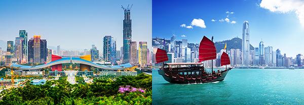 (左图)深圳(右图)香港
