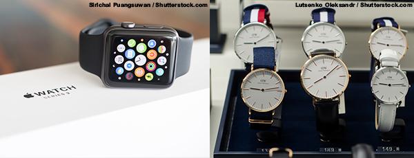 (左图)Apple Watch(右图)丹尼尔.惠灵顿