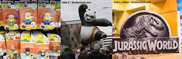 (左起)《Minions》、《功夫熊猫》、《侏罗纪公园》
