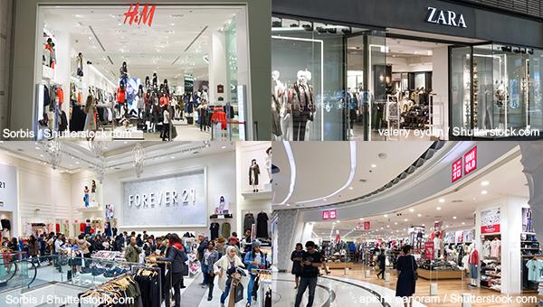 H&M、Zara、Uniqlo和Forever 21