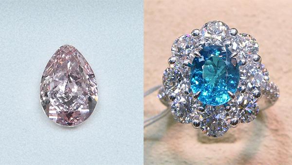 (左图)5.01卡梨形浓彩粉红钻石(右图)2.59卡椭圆形帕拉依巴石