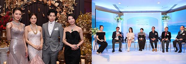 """(左图)""""珠宝之夜""""晚宴(右图)""""香港翡翠创作双年赛""""启动礼"""