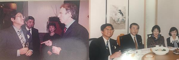 英国前首相布莱尔(左图右一)及日本前首相羽田孜(右图左二)