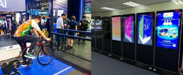 (左图)清华同方的电竞自行车系统(右图)深圳优色专显科技的液晶显示屏